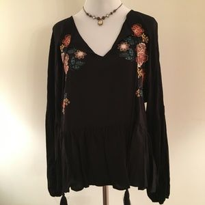 Chelsea & Violet Black Peasant Top w/Embroiderery